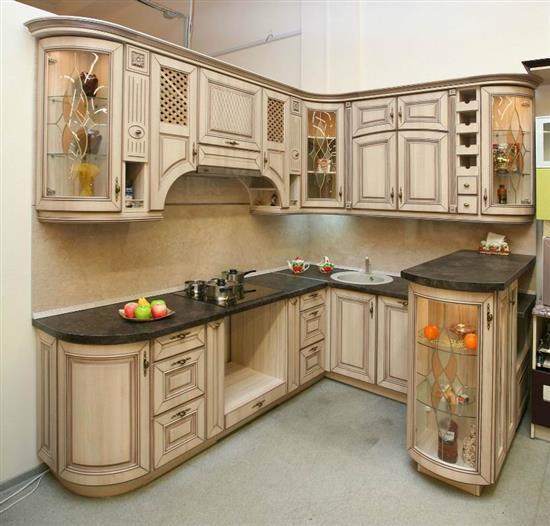 Купить угловую кухню с патиной